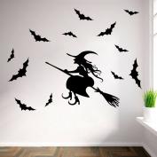 Halloween Witch Wall Art Door Stairs Living Room Bedroom Decor Teenager Kids Children Decal Wall Sticker Murals Wallpaper