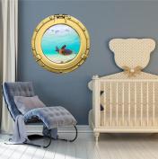 60cm Porthole Ship Window Ocean Sea View GREEN SEA TURTLE #4 BRASS Wall Graphic Kids Decal Baby Room Sticker Home Art Décor MEDIUM