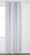 Deconovo Grommet Top Gradient Moroccan Print Thermal Insulated Bedroom Window Blackout Curtain for Living Room 110cm x 210cm Grey One Panel