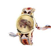 Lowpricenice Women Elephant Pattern Weaved Rope Band Bracelet Quartz Dial Wrist Watch