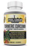 Turmeric Curcumin w/Bioperine for Better Absorption by Feel Great Supplements | Powerful Anti-Oxidant | Maximum Strength for Optimal Pain Relief/Joint Support | 100% Natural | 1000mg | 60 Day Supply