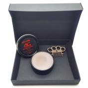 Beard Gains Brown Moustache Wax For Brown Moustaches W/ Mini Brass Knuckles Moustache Comb. Choose Your Hold!