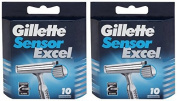 """Gilletté Sensor Excel Refill Cartridges 20 Count """"Made In Germany"""""""