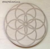 Seed of Life Engraved Wood Sacred Geometry 13cm Crystal Grid New Age Metaphysical Reiki