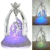 Lighted Nativity Scene with Angel - LED Manger Scene - Christmas Table Top Decorations - Holy Family - Christmas Decorations
