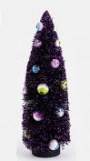 Halloween Spooky Black Bottle Brush Sisal Tree with Eyeball Ornaments, 38cm Tall