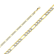 14K Solid Gold 4.6mm Light Diamond Cut Figaro Chain Lobster Clasp