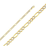 14K Solid Gold 4.7mm Diamond Cut Figaro Chain Lobster Clasp