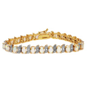 Goldtone Sterling Silver lab-created white Opal Bracelet, 18cm