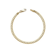 Curb Cuban Chain Bracelet and Anklet w/ White Pave - 10k Two-tone Gold - 0.1 Inch (2.5mm)