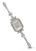 Sterling Silver Mother of Pearl White Topaz Locket Bouquet Pin The Betty by With You Lockets