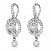 Noray Designs 14K White Gold Bezel Set Diamond (0.90 Ct, G-H Colour, SI2-I1 Clarity) Dangle Earrings