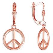 14k Rose Gold Leverback Peace Symbol Dangle Earrings