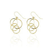14k Yellow Gold Dangling Circles Drop Earring with Fish Hook in Gift Box for Women and Teen Girls