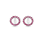 1.26CTW 14K White Gold Genuine Natural Ruby Round Shaped Earrings Jacket