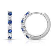 Noray Designs 14K White Gold Blue Sapphire & Diamond (0.30 Ct, G-H Colour, SI2-I1 Clarity) Hoop Earrings