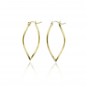 14k Yellow Gold Wave Shaped Pointing Oval Hoop Earring in Gift Box for Women and Teen Girls