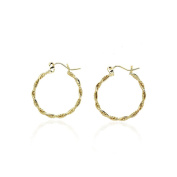 14k Yellow Gold Fancy Twisted Round Hoop Earring in Gift Box for Women and Teen Girls