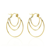14k Yellow Gold Twisted Loops Hoop Earring with Gift Box for Women and Teen Girls