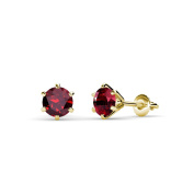 Ruby Six Prong Martini Solitaire Stud Earrings 1.05 ct tw in 14K Yellow Gold