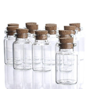 Factory Direct Craft® Group of 24 Miniature Clear Glass Jars with Cork Stopper Perfect for Miniature Terrariums, Storing and Decorating