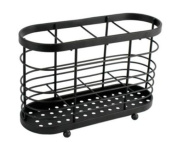 Deluxe Quality Steel Cutlery Stand and Drainer - Black