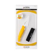 Kyocera Advanced Ceramic Mini 7.6cm Prep Knife, Bar Board and Knife Sheath Set, Yellow