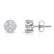 Noray Designs 14K White Gold Diamond (3/4 Ct, G-H Colour, SI2-I1 Clarity) Cluster Stud Earrings