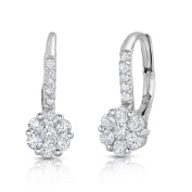 Noray Designs 14K White Gold Diamond (0.90 Ct, G-H Colour, SI2-I1 Clarity) Cluster Leverback Earrings