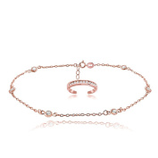 Hoops & Loops Rose Gold Tone over Sterling Silver Cubic Zirconia Anklet and Toe Ring Set