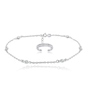 Hoops & Loops Sterling Silver Cubic Zirconia Anklet and Channel-set Toe Ring Set