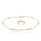 Hoops & Loops Gold Tone over Sterling Silver Cubic Zirconia Anklet and Toe Ring Set
