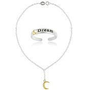 Hoops & Loops Sterling Silver Two-Tone Moon Dream Anklet and Toe Ring Set