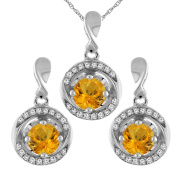 14K White Gold Natural Citrine Earrings and Pendant Set with Diamond Accents Round 4 mm