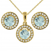 14K Yellow Gold Natural Aquamarine Earrings and Pendant Set with Diamond Halo Round 5 mm