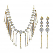 Gold Plated Pearls and Glass Stones Earrings with Extra Link Chain 41cm Necklace Jewellery Set