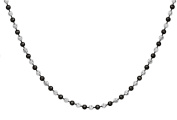 Sterling SilverBlack Rhodium Plated Plated 2.5 mm Two-Tone Ball Necklace
