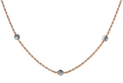 Sterling Silver Rose Gold Plated Two-Tone Rope W/ Bead Necklace