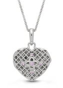Sterling Silver, Pink Sapphire Heart Locket Necklace, 46cm chain, The Isabel by With You Lockets