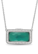 Green Agate Quartz White Topaz Sterling Silver Locket Necklace The Lorraine by With You Lockets