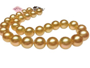 AAA round top lustre 17 inch 11-15mm yellow deep golden south sea cultured pearl necklace 14k gold clasp