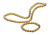 AAA 17 7.5 inch 9-10mm golden freshwater cultured pearl necklace bracelet sets 14k gold clasp