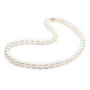 14K Solid Yellow Gold Freshwater Cultured Pearl Necklace 7.0-7.5mm Round AAA Quality - 18""