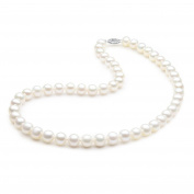 14K Solid White Gold Freshwater Cultured Pearl Necklace 8.0-8.5mm Round AAA Quality - 18""