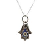 Silver Pendant, Sterling Silver Jewish Hamsa Pendant with 41cm Silver Chain