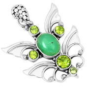Xtremegems Chrysocprase & Peridot 925 Sterling Silver Pendant Jewellery 4.1cm 6674P