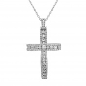 Noray Designs 14K White Gold Diamond Cross Pendant (1.15 Ct, G-H Colour, SI1-SI2 Clarity) With 46cm Gold Chain