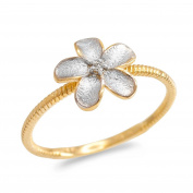 10k Two-Tone Gold Solitaire Diamond Rope Band Hawaiian Plumeria Flower Ring