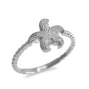 10k White Gold Beaded Band Textured Starfish Ring