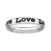 Sterling Silver Stackable Expressions Polished Enamelled Love Ring